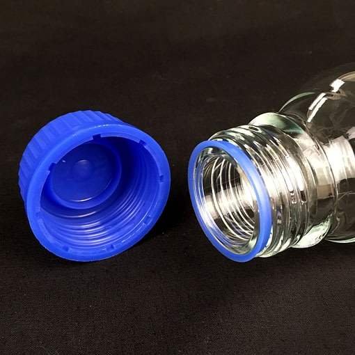 250ml clear graduated glass reagent bottle - close up of bottle neck