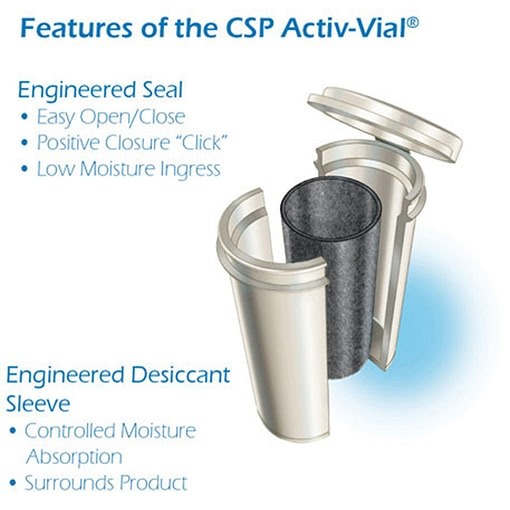 diagram of features of the CSP Activ-VialⓇ