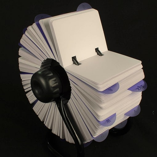 Rotary card filing system with 1000 plain cards