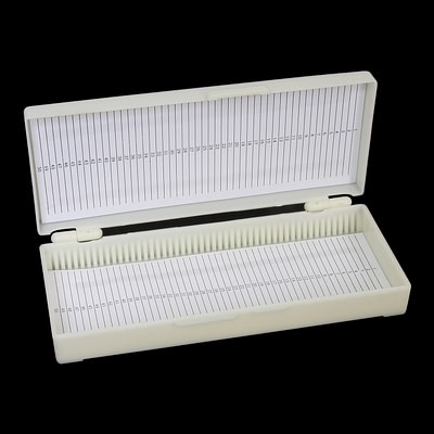 Slide storage box, hinged lid - 50 capacity (ABS)