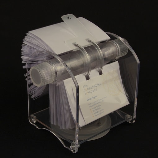 Rotary card filing system with 200 business card sleeves