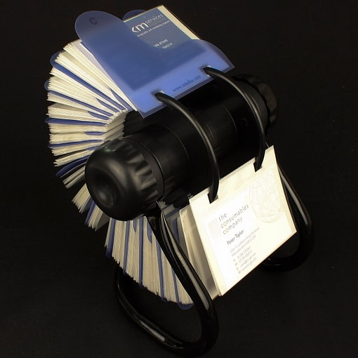 Rotary card filing system with 300 business card sleeves